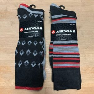 Men's 10-13 AIRWALK Fashion Crew Socks 2 Pkgs 6 Pr
